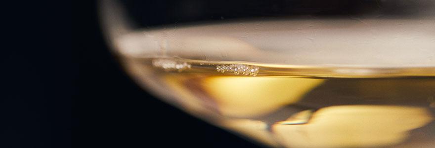 photo d'un verre de vin blanc en zoom